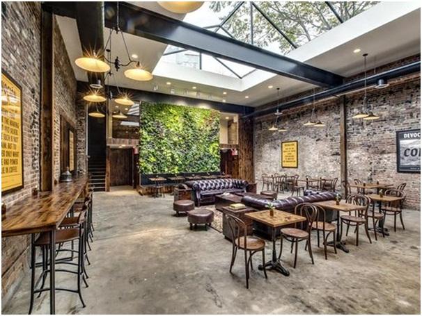 thiết kế không gian quán cafe với ánh sáng