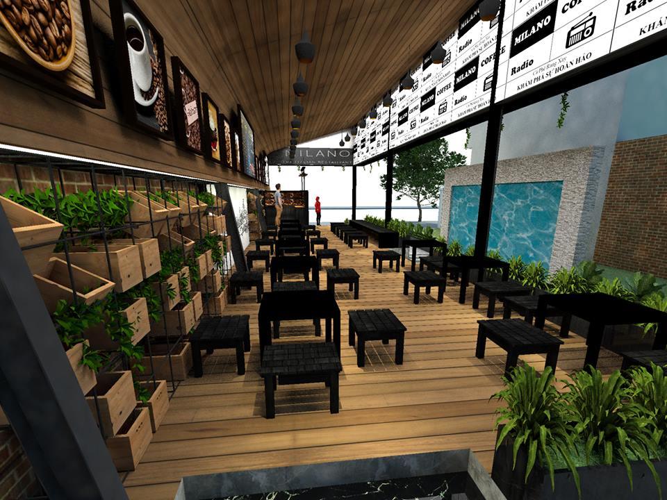 thiết kế không gian quán cafe milano