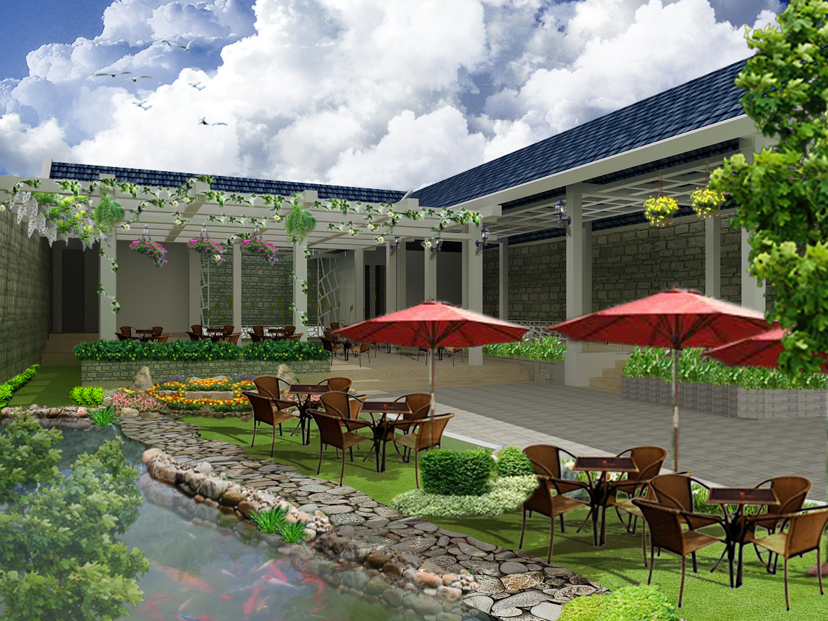 thiết kế không gian quán cafe sân vườn