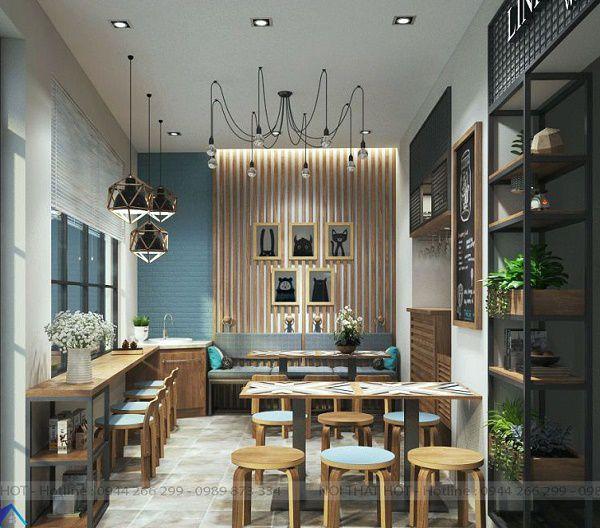 Thiết kế quán cafe mặt tiền nhỏ hẹp 5m